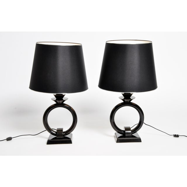 Pair of Mid-Century Lamps with Black Lacquer - Image 2 of 8