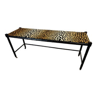 Faux Bamboo & Leopard Print Console For Sale