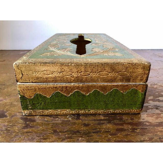 Florentia Vintage Florentine Green Gilt Tissue Box Cover For Sale - Image 4 of 6