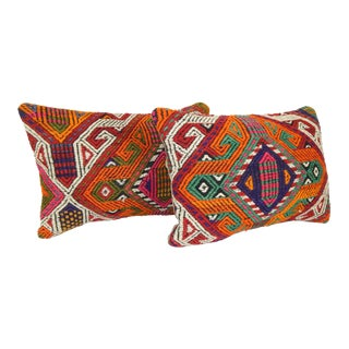 "Pair Vintage Turkish Lumbar Kilim Pillow 14""x20"" For Sale"