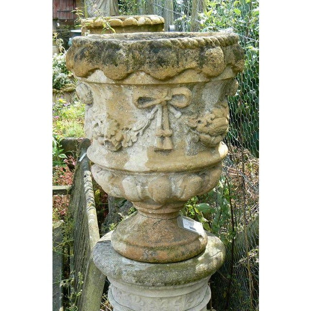 18th Century Hand Carved Cotswold Stone Planters - a Pair For Sale In Boston - Image 6 of 10