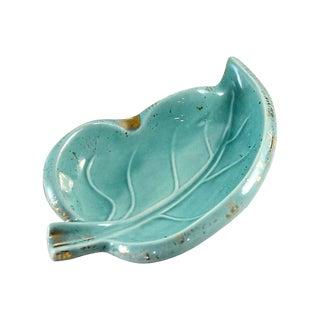 Mid-Century Modern Aqua Leaf Bowl For Sale