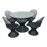 Image of Mid Century Woodard Seat Outdoor Dining Set- 5 Pieces For Sale