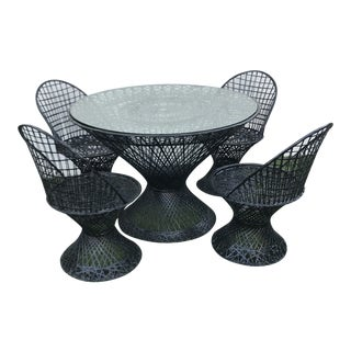 Mid Century Woodard Seat Outdoor Dining Set- 5 Pieces For Sale