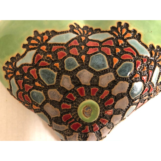 Beautiful Ceramics Wall Plaque by Laurie Pollpeter Eskenazi. Napervill, IL Fantastic Green glaze with Native American...