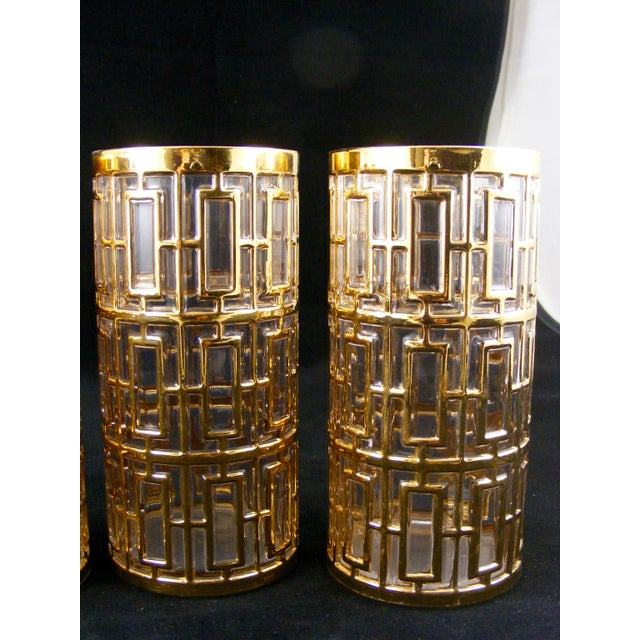 Mid-Century Modern 22k Imperial Glass Shoji Tall Drinking Glasses - Set of 4 For Sale - Image 3 of 5