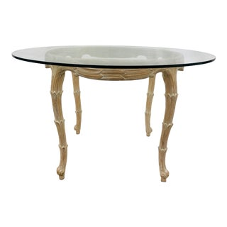 Vintage Serge Roche Faux Bois Carved Wood & Glass Top Table For Sale