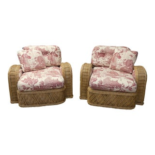 Vintage Jay Spectre Style Rattan Steamer Armchairs- a Pair For Sale