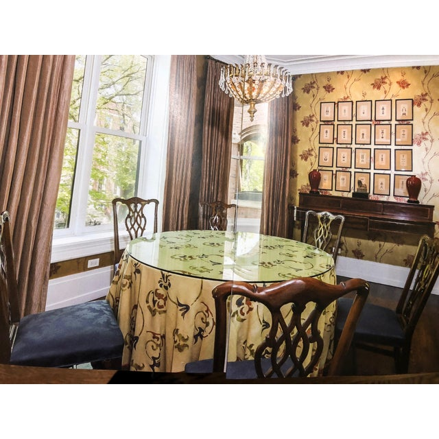 """Custom made 54"""" round dining table with glass top. Includes beautiful custom designer linen tablecloth. We paired it with..."""