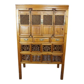 1850s Antique Chinese Elm Carved Accent Geometric Panel Wedding Cabinet Armoire For Sale
