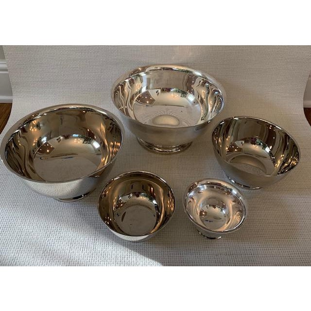 """Great set of 5 Silver plate Revere Bowls. Bowls measure 12"""", 10"""", 8"""", 6"""", 5"""". Makers mark is Towle."""