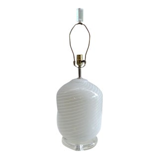 Vetri Murano Swirled Glass Table Lamp on Lucite Base For Sale