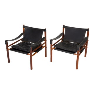 "Pair of ""Sirocco"" Safari Chairs in Black Leather by Arne Norell For Sale"