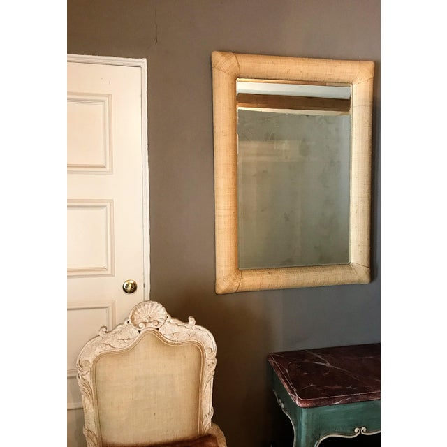 Contemporary Custom Raffia Covered Beveled Mirror For Sale - Image 3 of 6