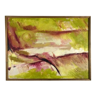 Vintage 1960s Original Oil Abstract Painting For Sale