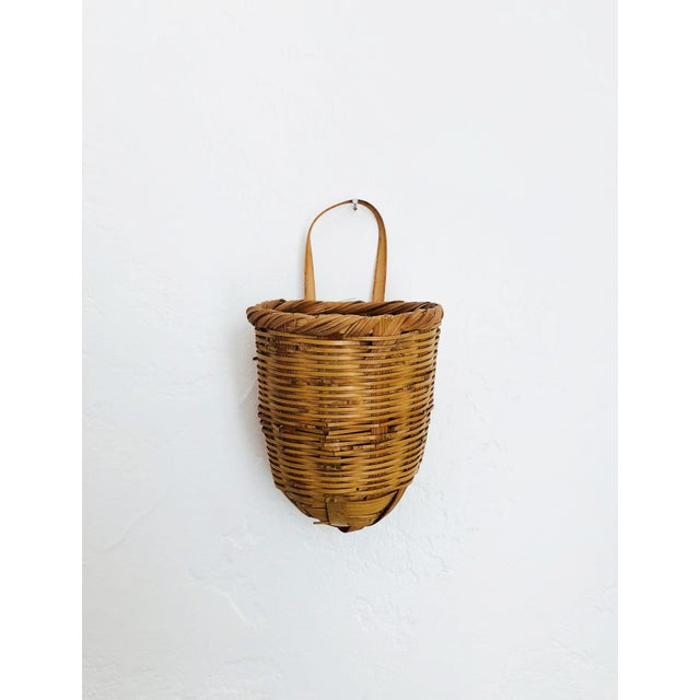 Asian Vintage Wicker Wall Pocket Vase For Sale - Image 3 of 7