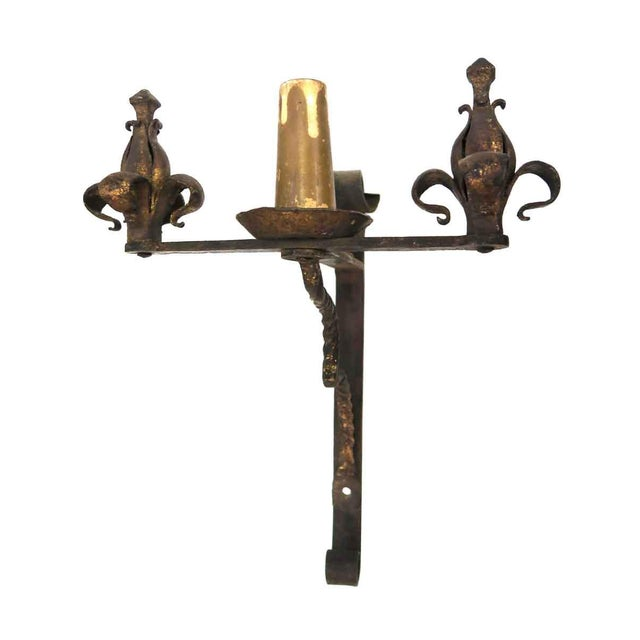 Mid 20th Century Antique Art Nouveau Brown Iron Sconce For Sale - Image 5 of 5