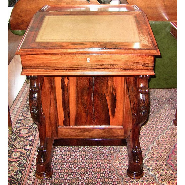 Animal Skin Early 19c British Davenport Desk in the Manner of Gillows For Sale - Image 7 of 13