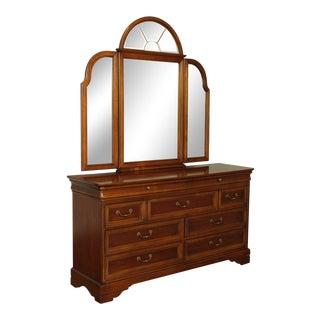 Lexington Chez Michelle Cherry Louis Philippe Dresser with Trifold Mirror For Sale