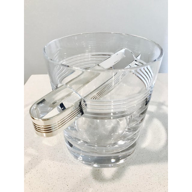 "Christofle ""Atalante"" Crystal Ice Bucket & Silverplated Ice Tongs - Image 5 of 8"
