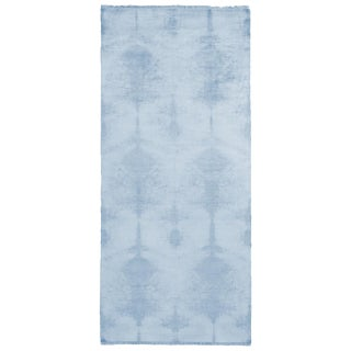 Contemporary Geometric Ivory Blue Wool and Silk Runner- 3′7″ × 8′1″ For Sale