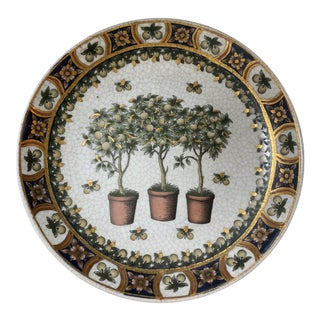 Three Potted Lemon Trees Decorative Plate With Gold Flecks For Sale