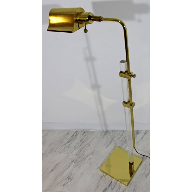 Brass Mid-Century Modern Brass and Lucite Adjustable Floor Lamp Bauer Kovacs Era For Sale - Image 7 of 9