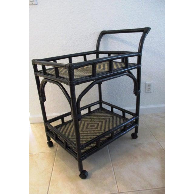 Black & Tan Bamboo & Rattan Rolling Bar Cart For Sale - Image 9 of 9