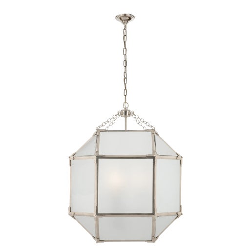 Visual Comfort Morris Medium Lanterns in Polished Nickel (2 Available) For Sale
