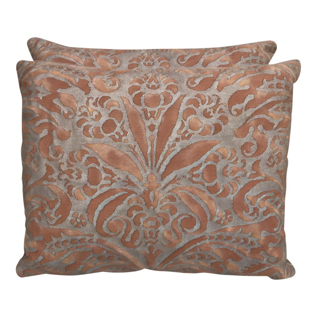 Fortuny Brown & Gold Cotton Pillows- A Pair - Image 1 of 5