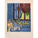"""Image of 1948 Matisse """"Two Little Girls and Red Window in Blue Interior"""" Original Period Lithograph For Sale"""