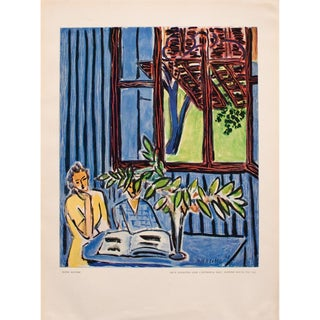 "1948 Matisse ""Two Little Girls and Red Window in Blue Interior"" Original Period Lithograph For Sale"