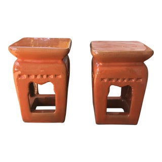 Chinoiserie Orange Garden Stools - A Pair