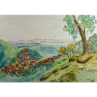 R. Routes, Valley Town Watercolor Landscape For Sale