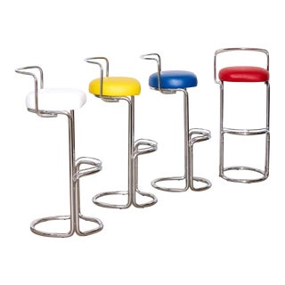 1970s Vintage Italian Bar Stools- Set of 4 For Sale