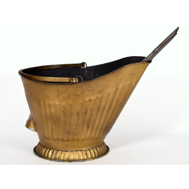 Art Nouveau Mid-20th Century Coal Scuttle Fireplace Bucket and Scooper For Sale - Image 3 of 10