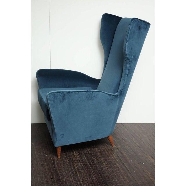 Vintage Italian Modern Wingback Chairs in Blue Velvet For Sale - Image 4 of 8