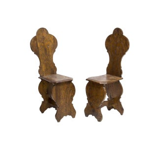 19th Century Continental Carved Walnut Hall Chairs - A Pair For Sale