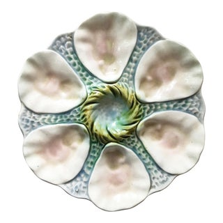 Early 20th Century Majolica Orchies Oyster Plate For Sale