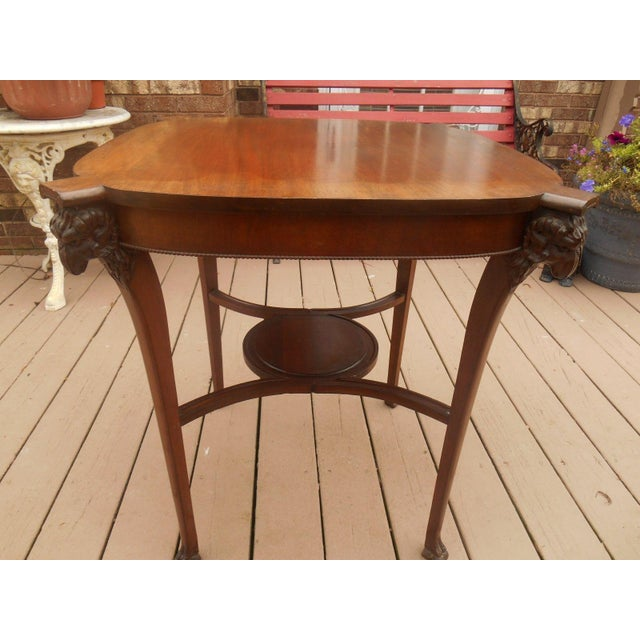 Victorian/Gothic Carved Ram's Head Lamp Table - Image 3 of 6