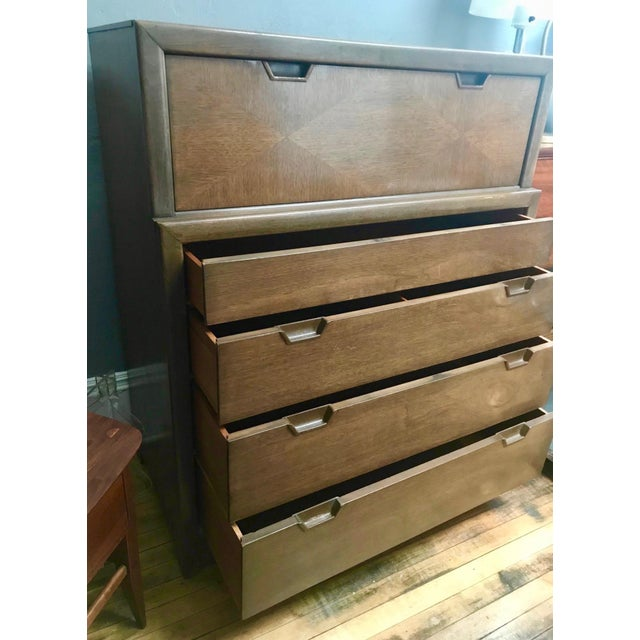 Huntley Furniture Co. Mid Century Modern Walnut Tall Chest-1960's For Sale - Image 4 of 7