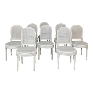 Early 20th Century Antique French Louis XVI Painted Dining Chairs-Set of 8 For Sale