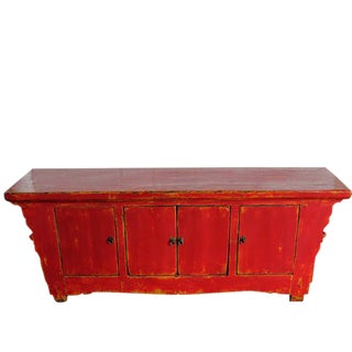 Red Low Media Sideboard For Sale