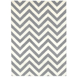 Jonathan Adler Peruvian Grey/Natural Herringbone Flat Weave Rug - 6' X 9' For Sale