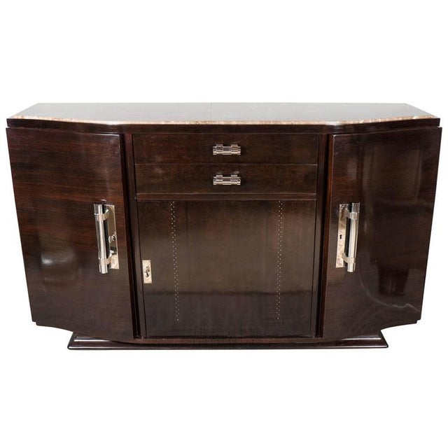 Art Deco Book-Matched Rosewood and Emperador Marble-Top Sideboard For Sale - Image 11 of 11