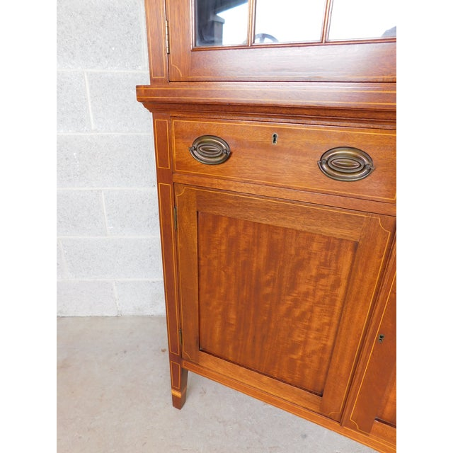 "Kittinger Biggs Federal Hepplewhite Style 1Pc Mahogany Banded Cabinet 90""h X 40""w For Sale - Image 4 of 13"
