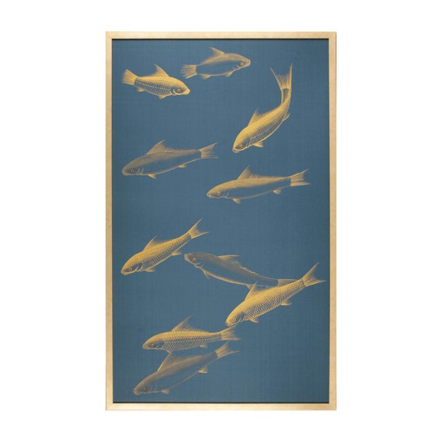 Hand-Painted Metallic Gold Fish on Blue Silk Panel Framed For Sale In Los Angeles - Image 6 of 6