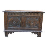 Image of 19th Century Antique English Oak Chest Blanket Box Trunk Coffer For Sale