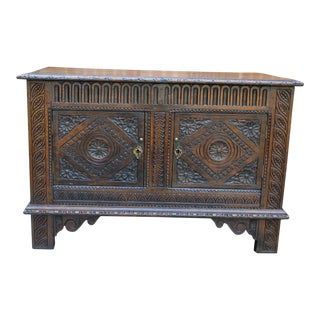 19th Century Antique English Oak Chest Blanket Box Trunk Coffer For Sale