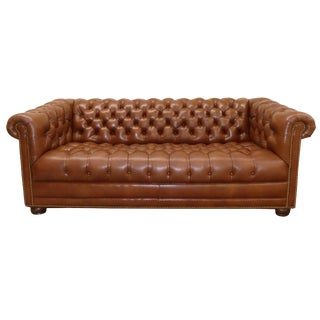 Hancock & Moore Tufted Leather Chesterfield Sofa For Sale